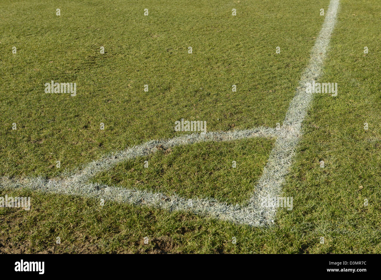 Fußball Platz Ecke Kennzeichnung Stockfoto