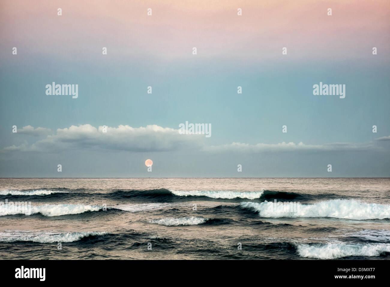 Monduntergang. Hawaii, Big Island. Stockbild