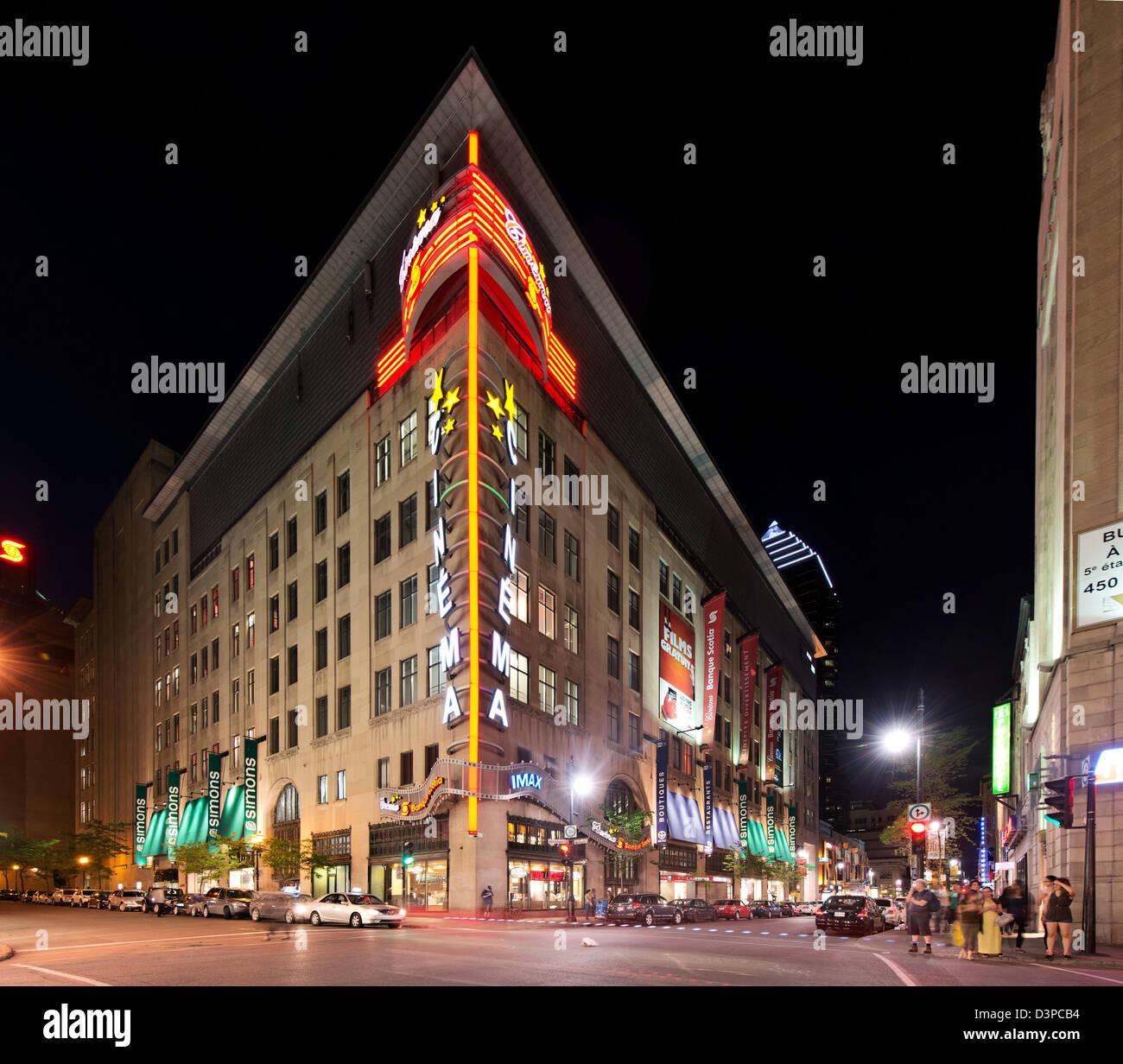 Scotia Bank Kino Kino, rue Sainte Catherine, downtown Montreal, Quebec, Kanada Stockbild