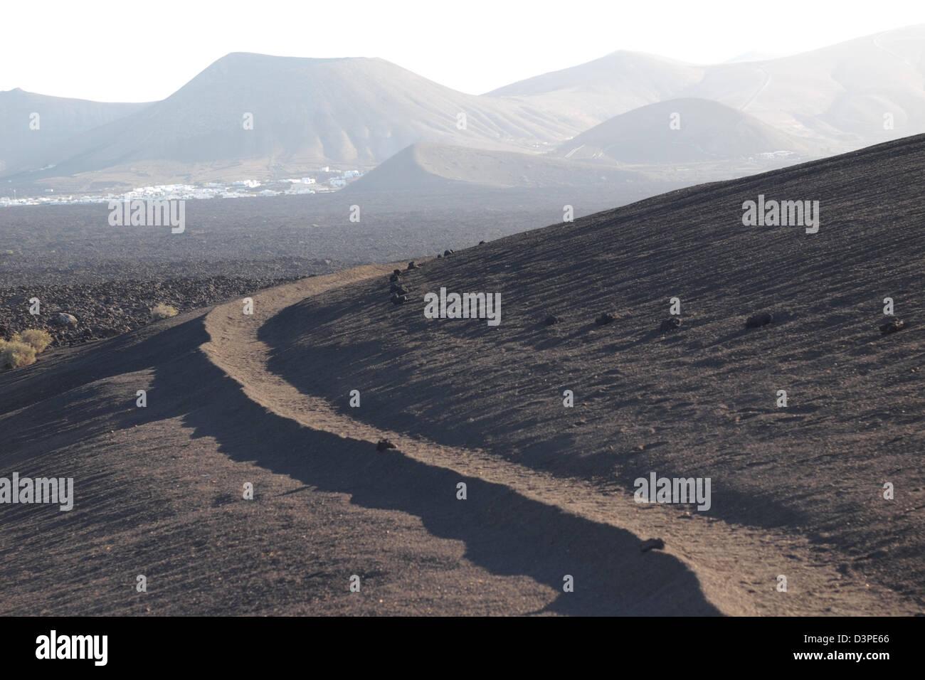 vulkanische Sanddünen im Timanfaya Lanzarote Spanien Kanarische Inseln Stockbild