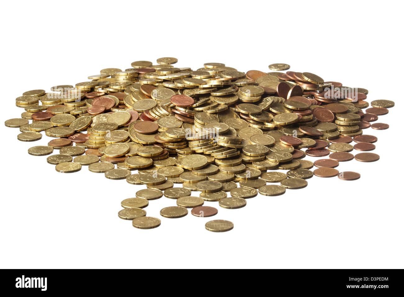 Kleingeld Haufen Von Vielen Euro Münzen Auf Weißem Hintergrund Vor
