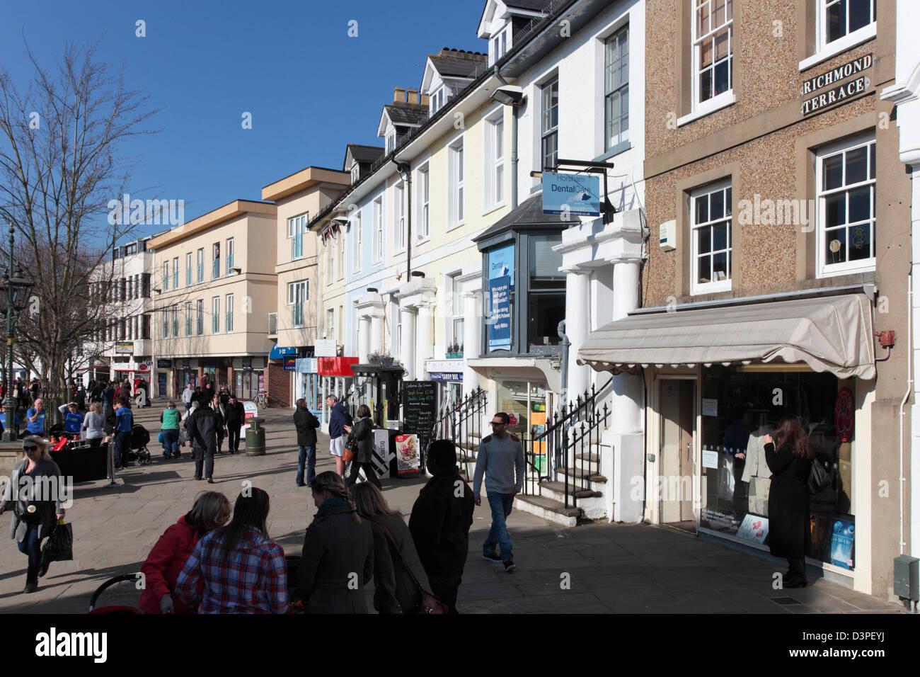 South Street Fußgängerzone Bereich, Horsham, West Sussex Stockbild
