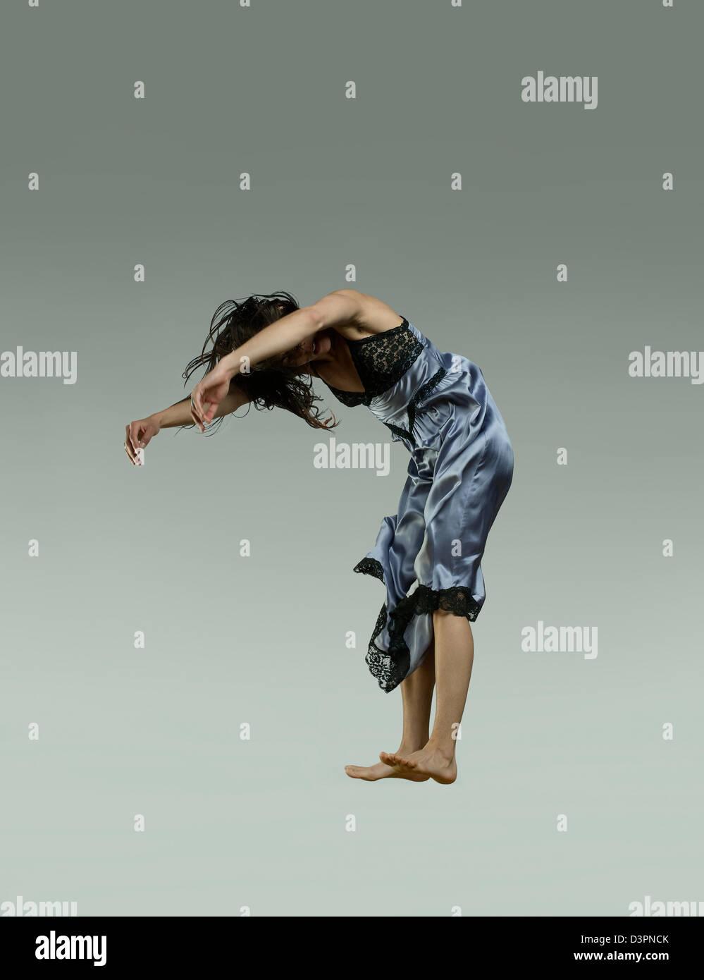 Menschen schweben in der Luft eingefroren Stockbild