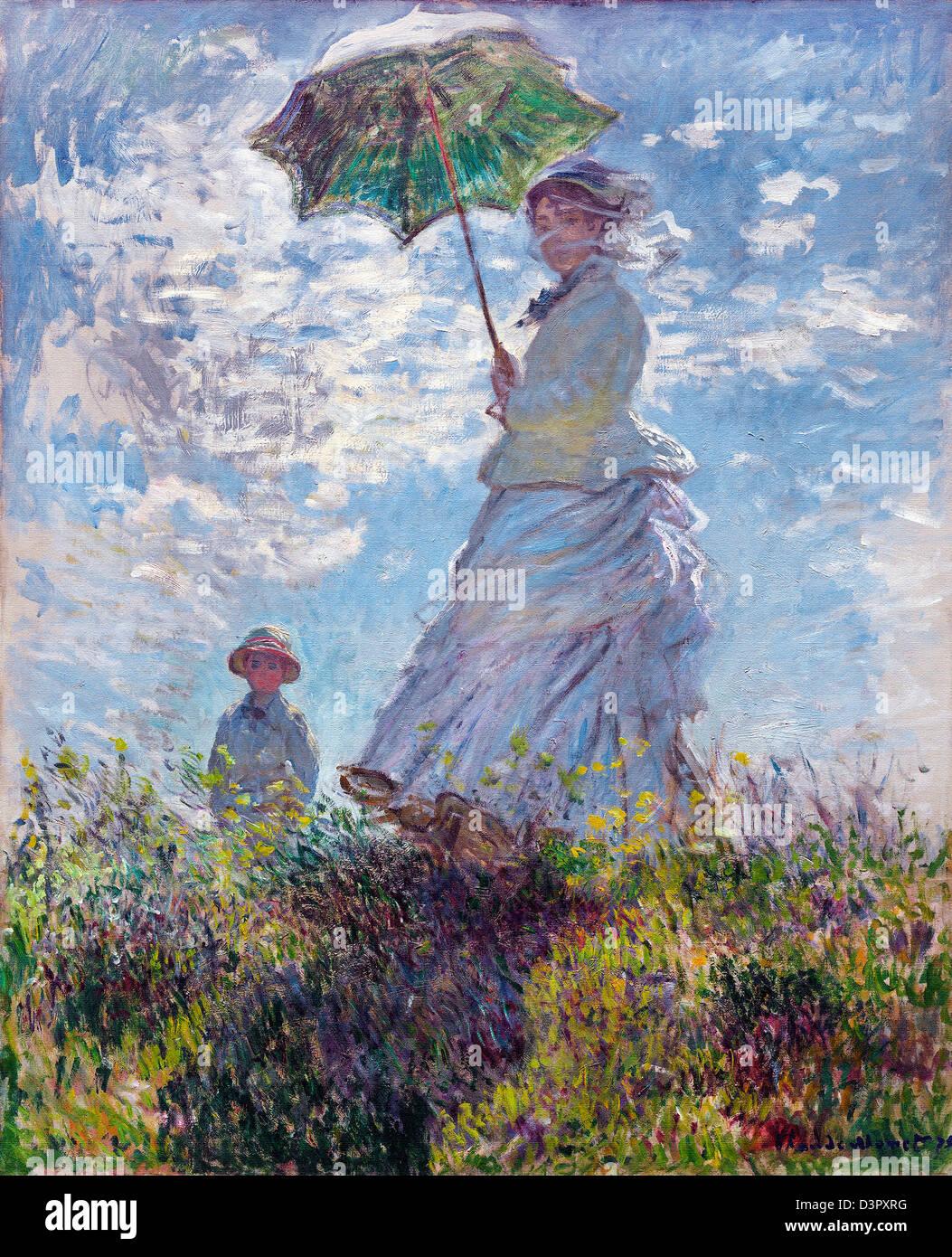 Claude Monet Frau Mit Sonnenschirm Madame Monet Und Ihr Sohn 1875