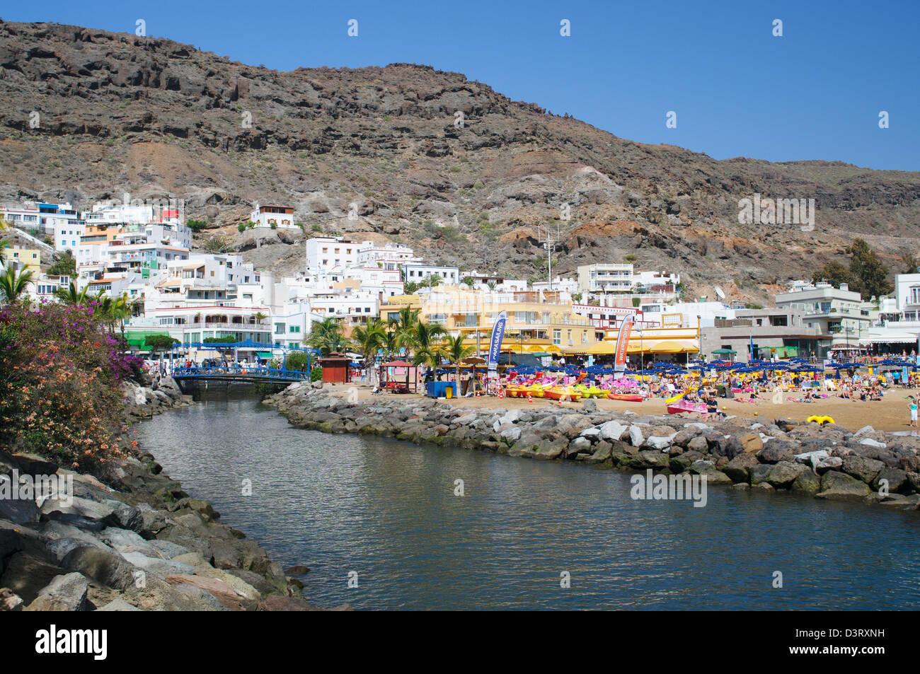 Flusses in Puerto de Mogan, Gran Canaria Stockbild