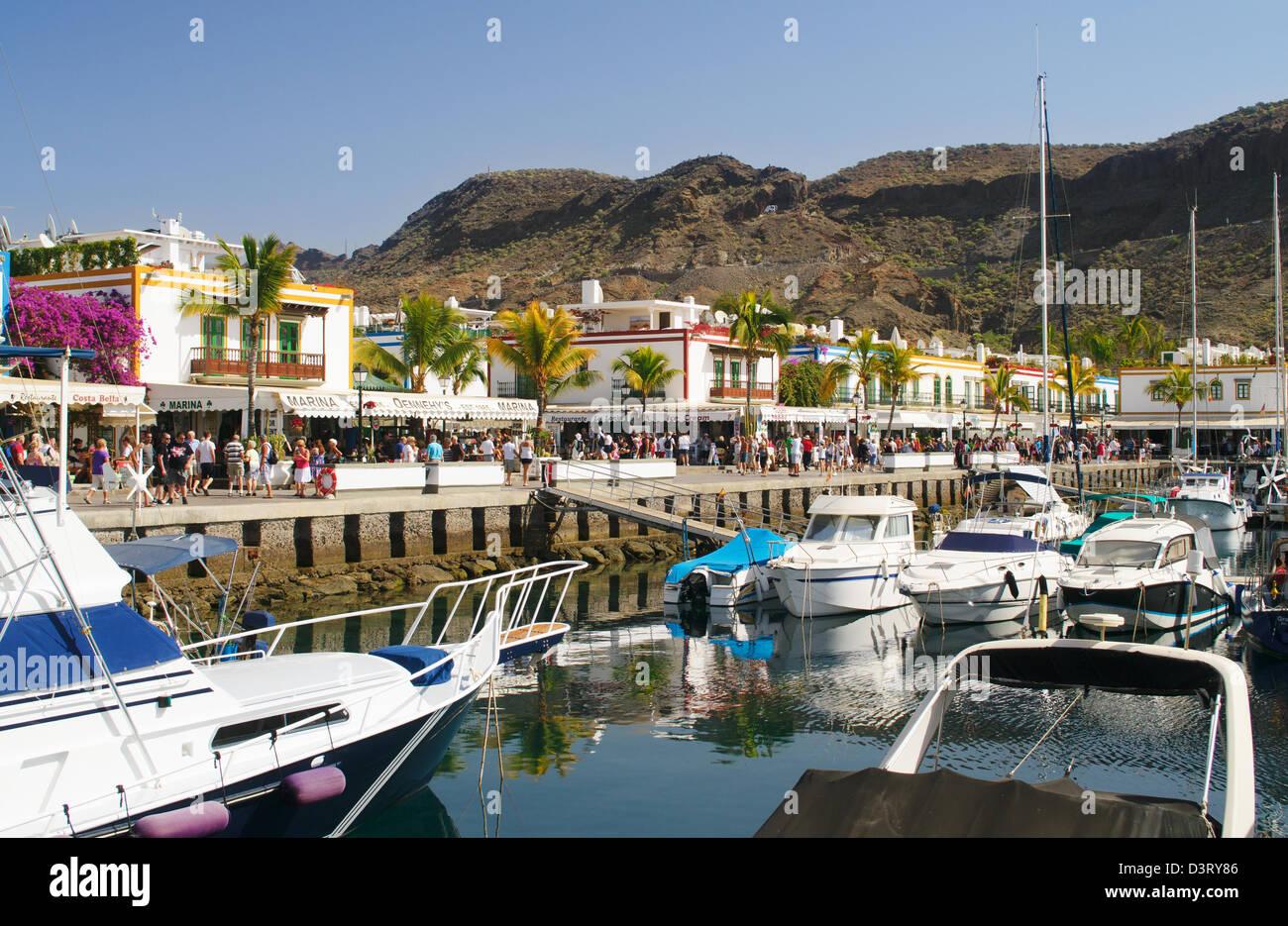 Boote im Hafen von Puerto de Mogan, Gran Canaria Stockbild