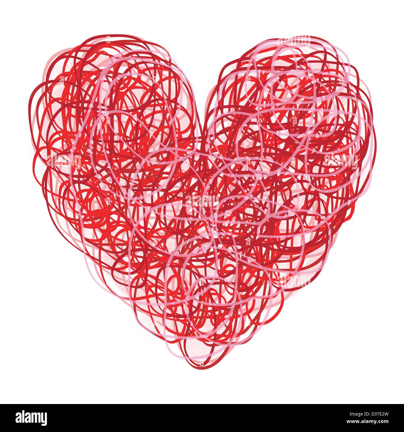 Rot und rosa kritzelte Herz auf weiß Stockfoto