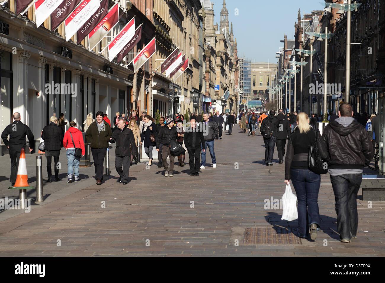 Fußgängerzone Buchanan Street in Glasgow City Centre, Schottland, UK Stockbild