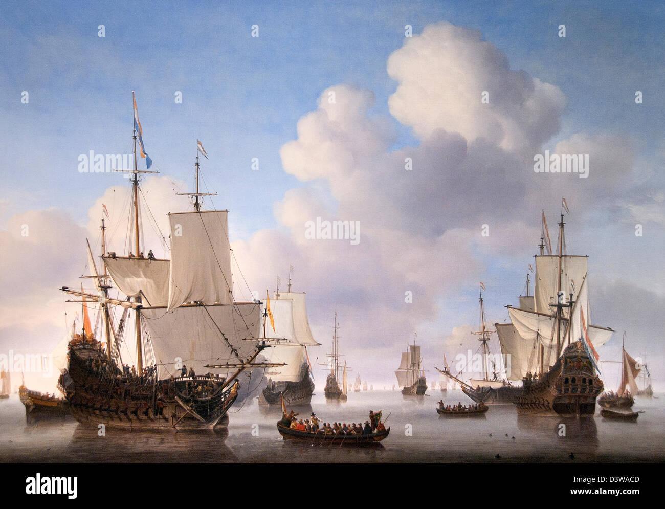 Holländische Schiffe auf einem ruhigen Meer 1665 Willem van de Velde Niederlande Stockbild