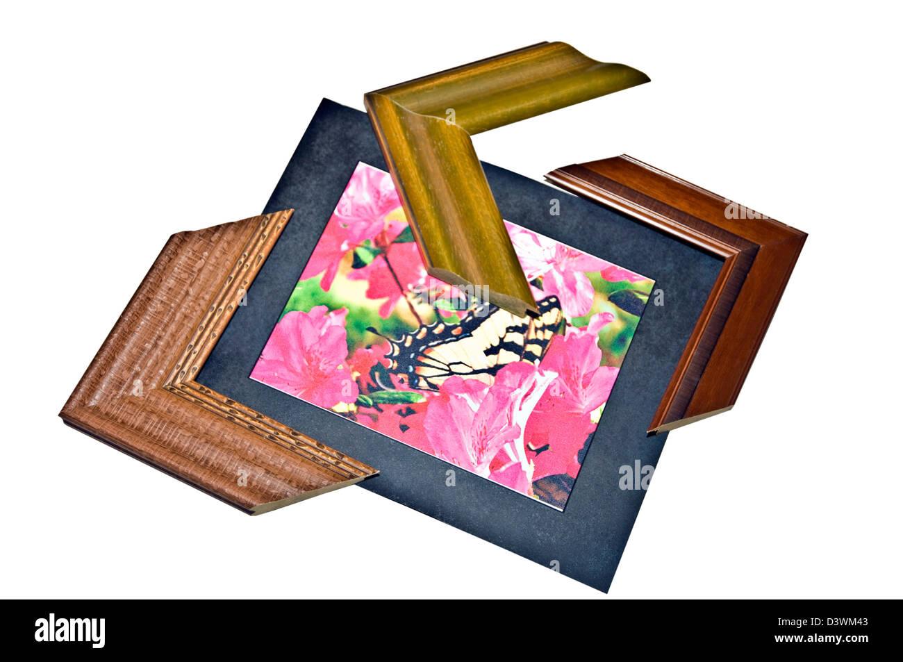 Ein Leinwanddruck, Matte und drei hölzerne Rahmen Ecken Stockfoto ...