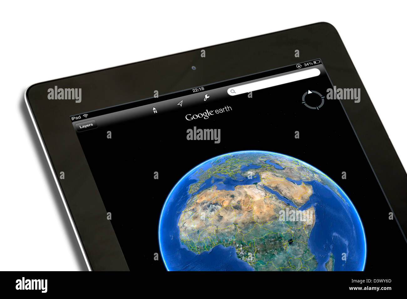 GoogleEarth auf dem iPad eine 4. Generation betrachtet Stockbild