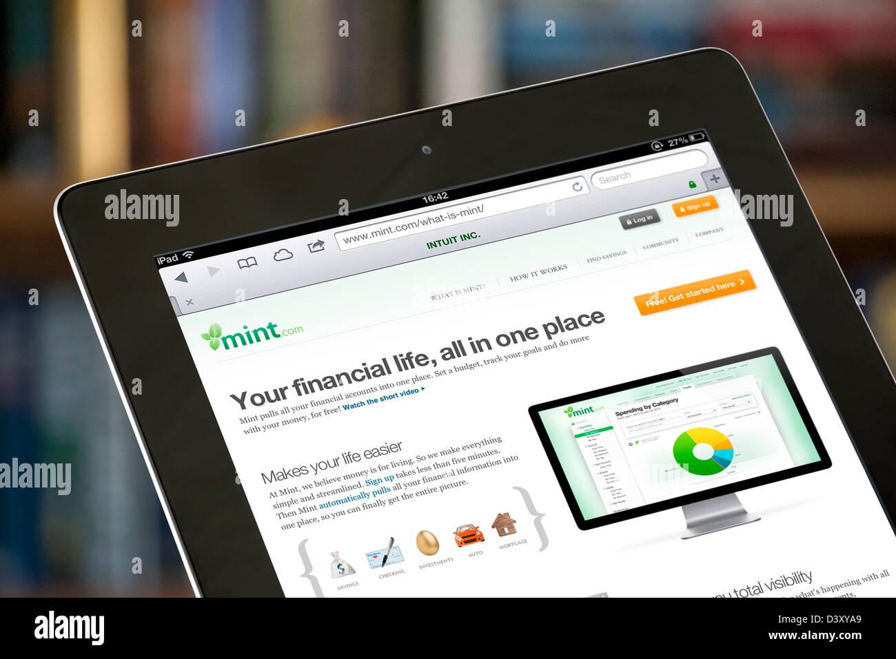 Die mint.com webbasiertes Finanzmanagement Service, USA Stockbild