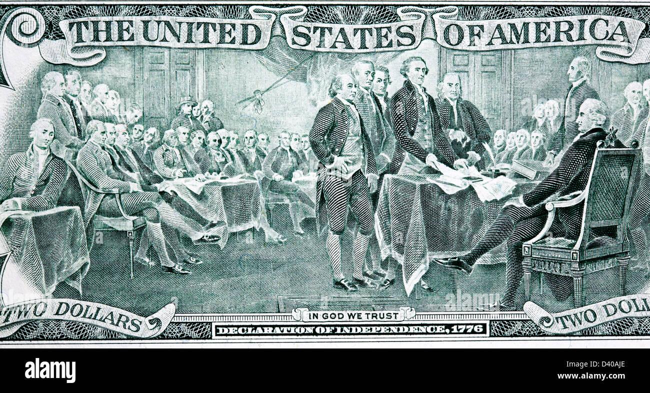 Schauplatz der Unterzeichnung der Unabhängigkeitserklärung von 2 Dollar Banknote, USA, 2003 Stockfoto