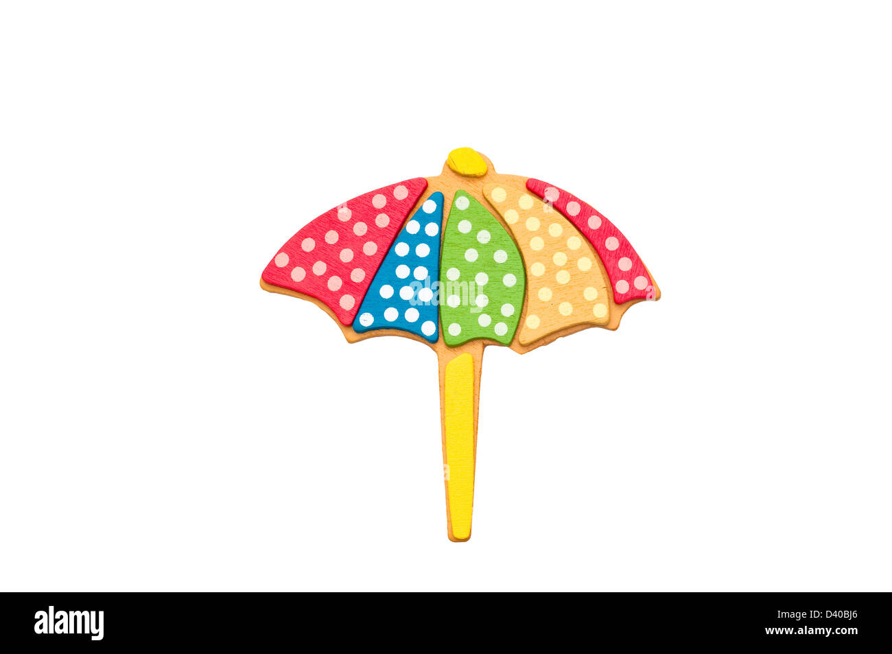 Sonnenschirm, isoliert auf weißem Hintergrund. Stockbild