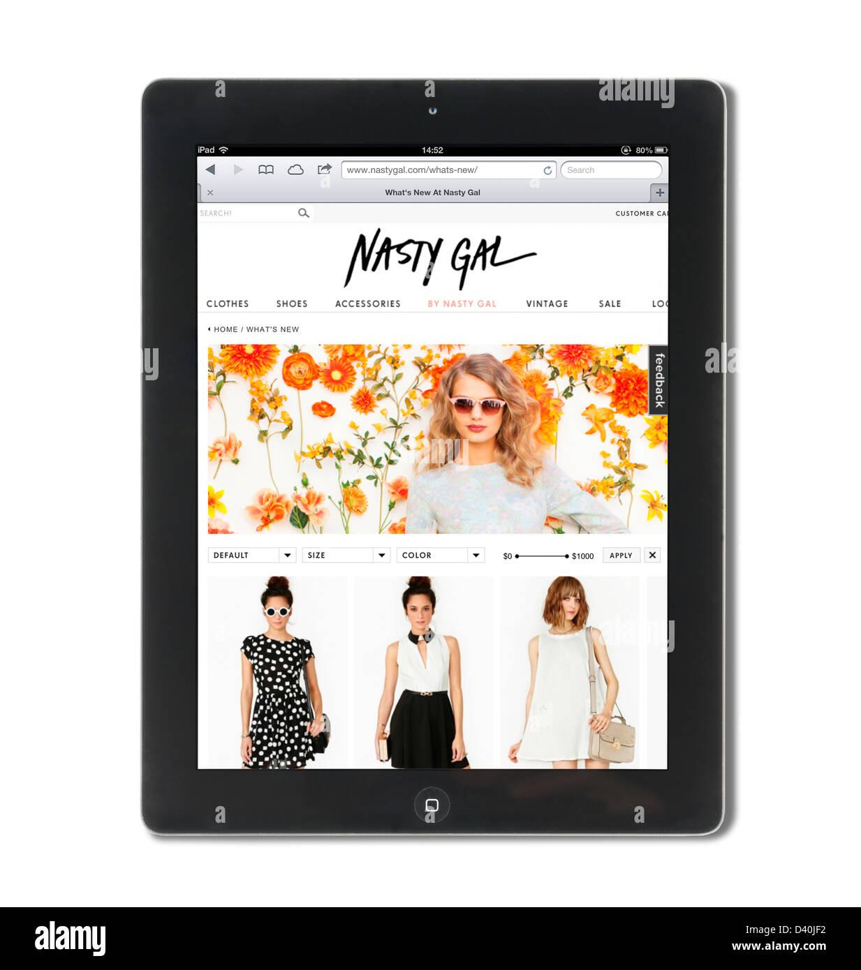 Böse Gal, der Rabatt Kleidung Website für junge Frauen, die auf einem Apple iPad gesehen Stockbild
