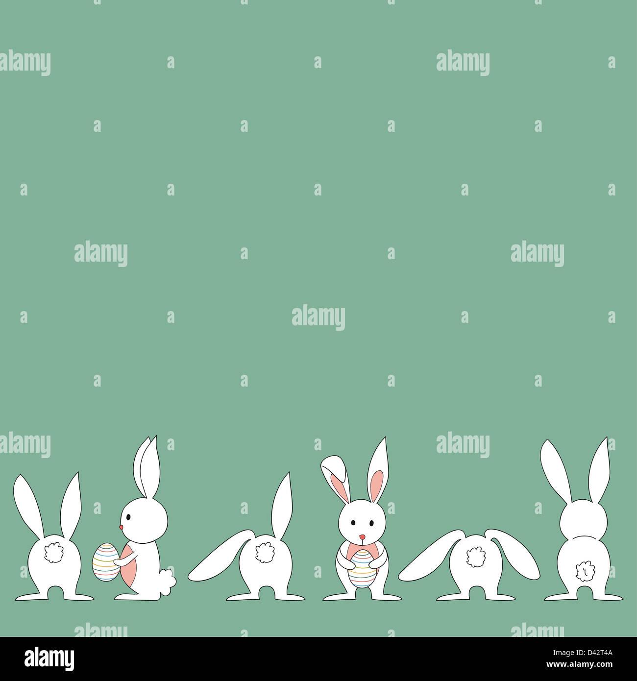 Lustige Baby-Osterhasen und Ei in verschiedenen Positionen. Diese ...