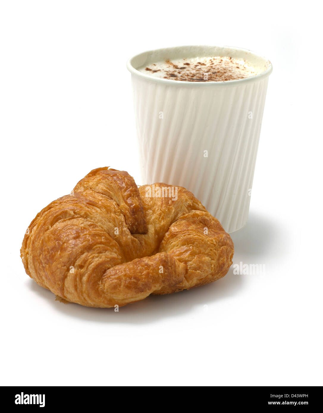 croissant mit kaffee im pappbecher wei en hintergrund ausschneiden stockfoto bild 54175817 alamy. Black Bedroom Furniture Sets. Home Design Ideas