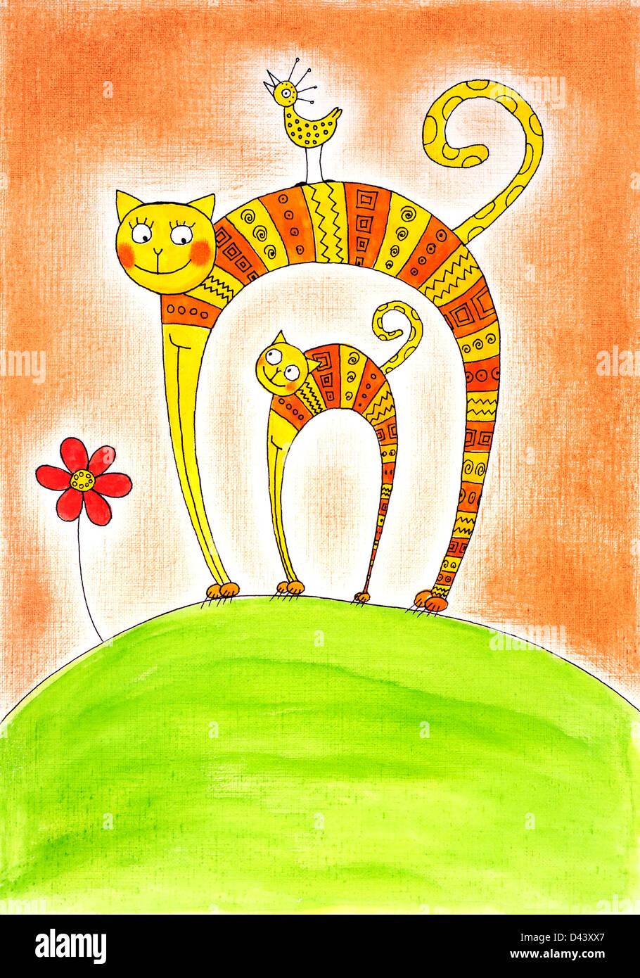Katze und Kätzchen, Kinder Zeichnung, Aquarell auf Papier Stockbild