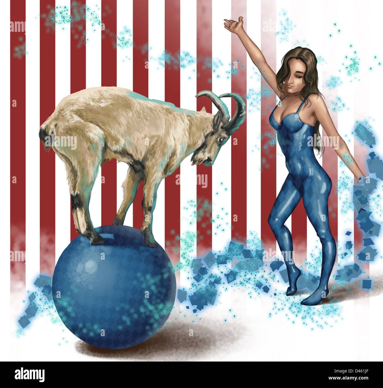 Anschauliches Bild der weibliche Darstellerin Ziege balancieren auf Kugel betrachten Stockbild