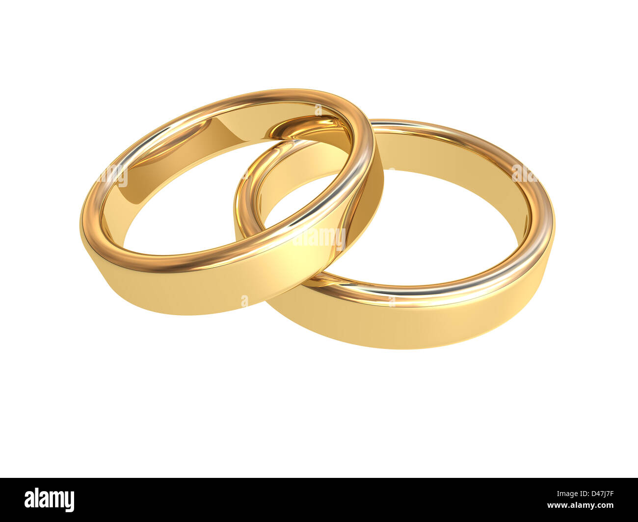 Zwei Goldene Hochzeit Ringe Vor Weissem Hintergrund Stockfoto Bild