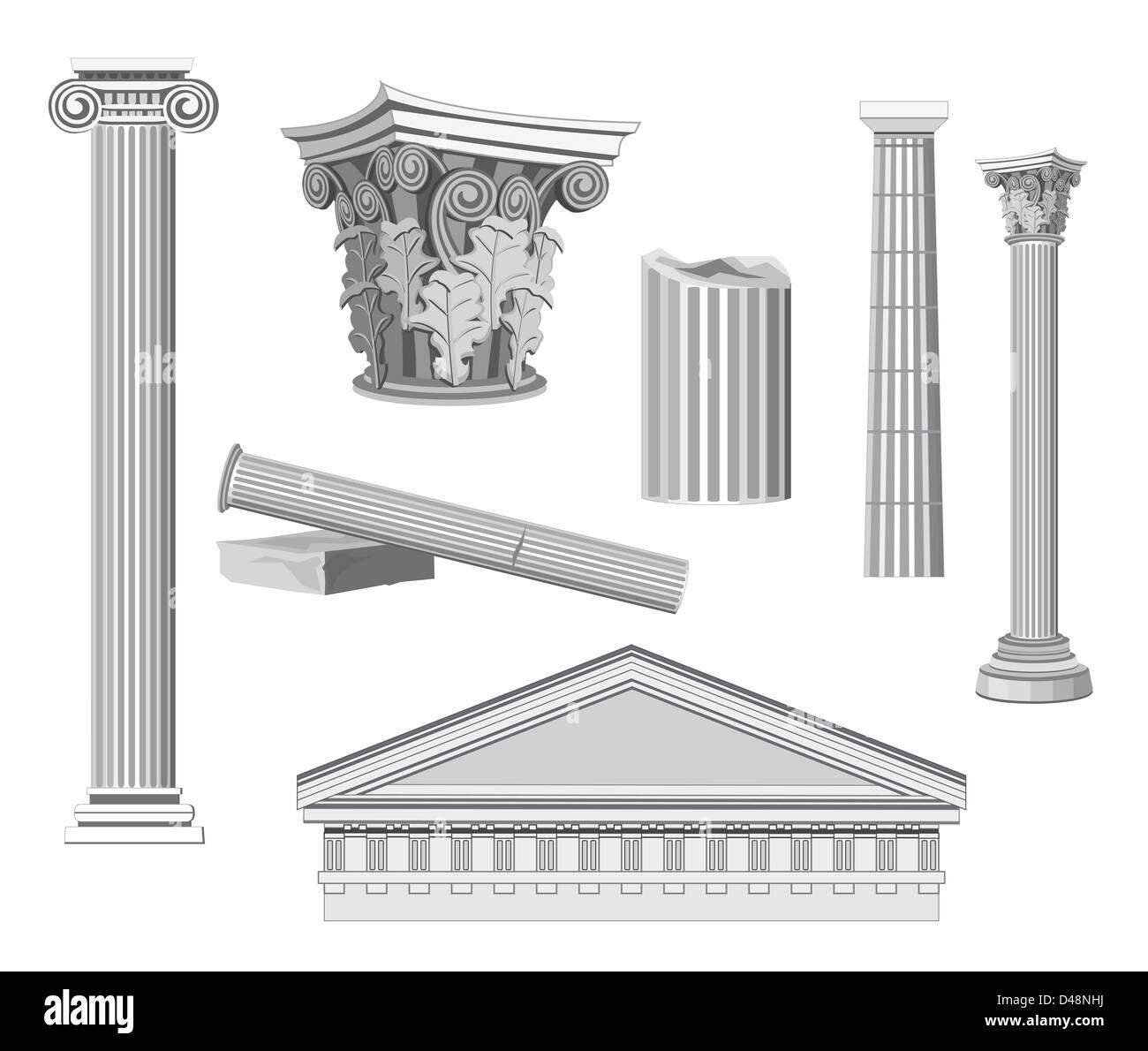 Antike architektonische Elemente isoliert auf weiss Stockfoto, Bild ...