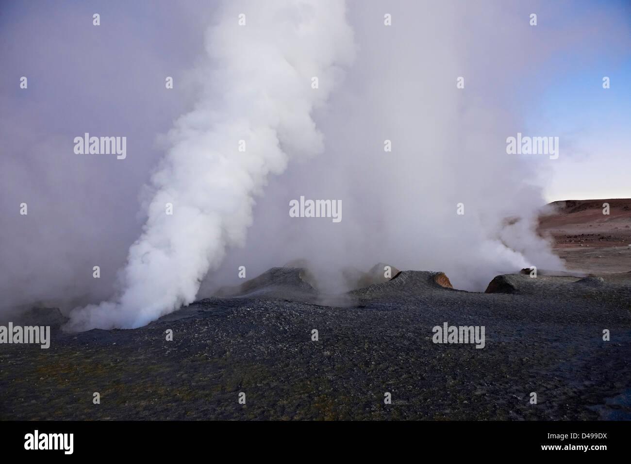 Sol de Manana, dampfenden geothermalen und Geysirfeld, Reserva Nacional de Fauna Andina Eduardo Abaroa, Bolivien, Stockbild