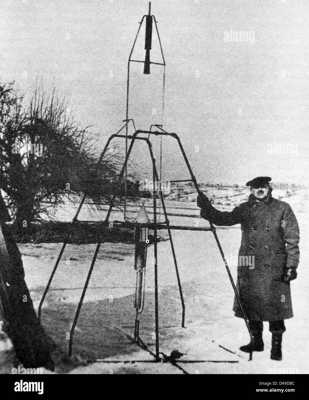 Robert Goddard, US-amerikanischer Erfinder der ersten Flüssigkeit-getankte Rakete Stockfoto
