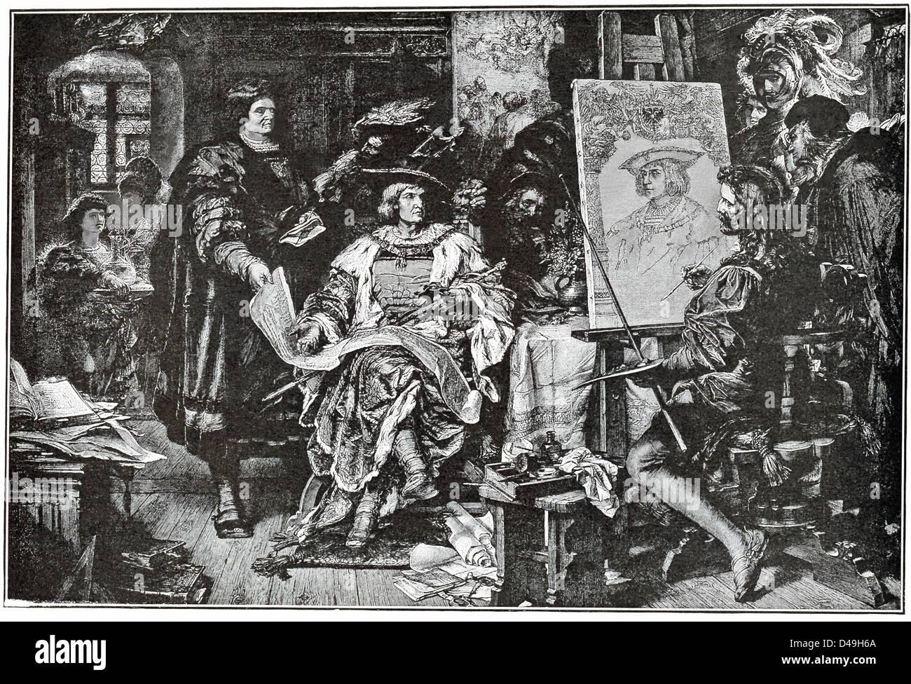 Zarte, verträumten Künstler Durer und das Heck und im Alter von Kaiser Maximillian diskutieren ernsthaft Stockbild