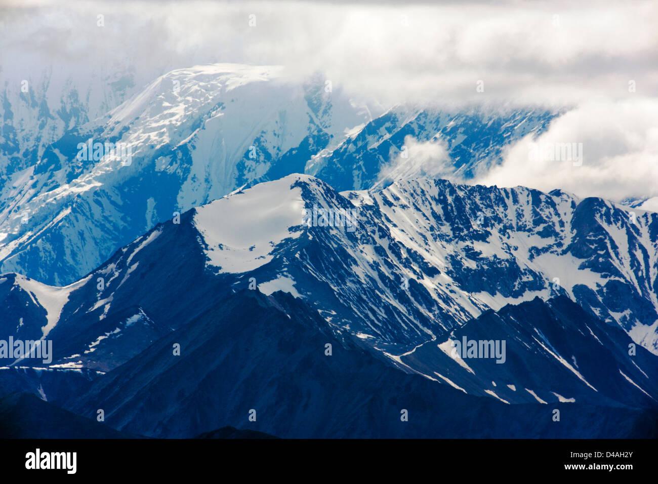Blick auf die Alaska Range vom Highway Pass, Denali National Park, Alaska, USA Stockfoto