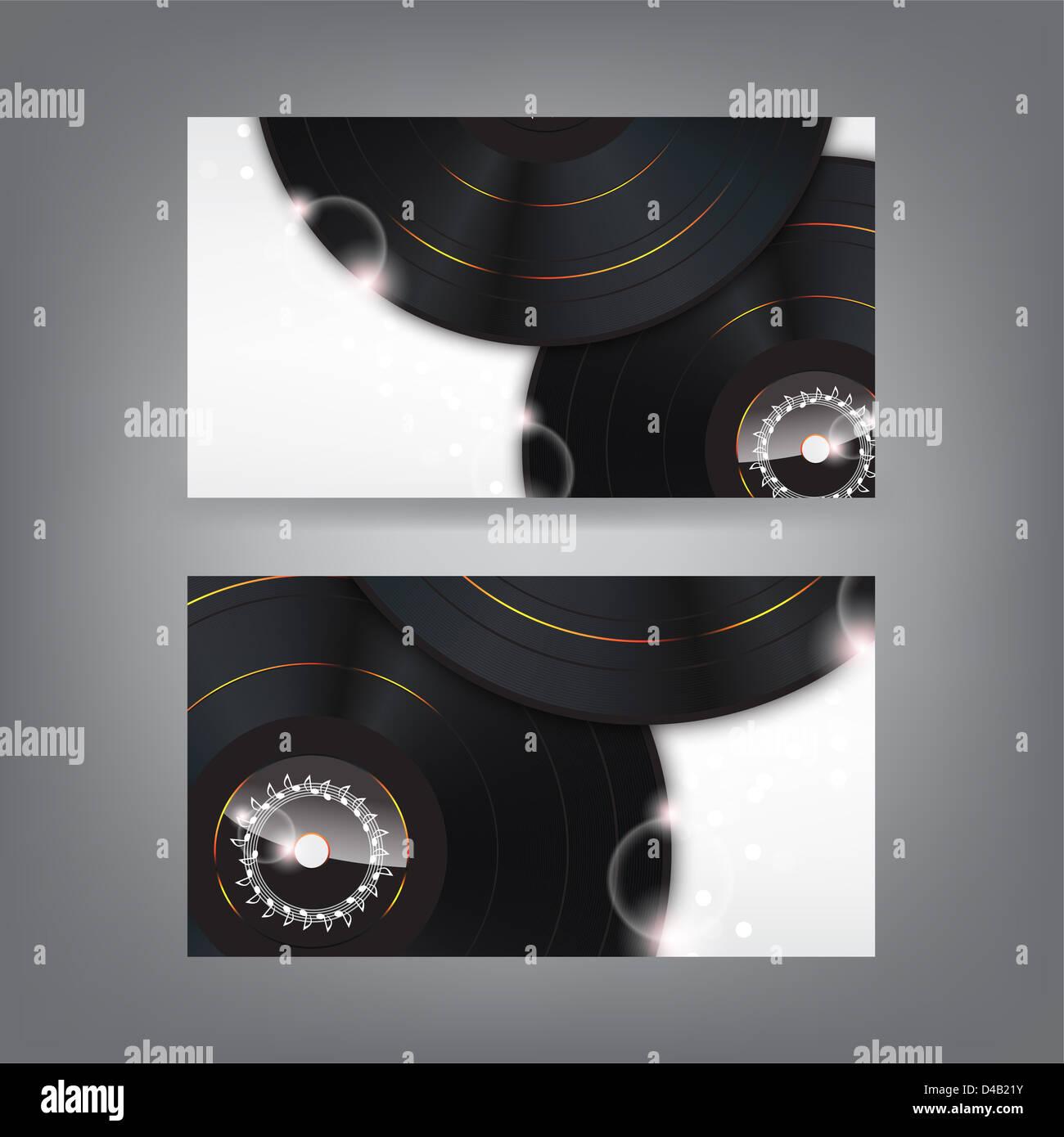 Musik Thema Visitenkarte Vorlage Mit Vinyl Platten Teil2