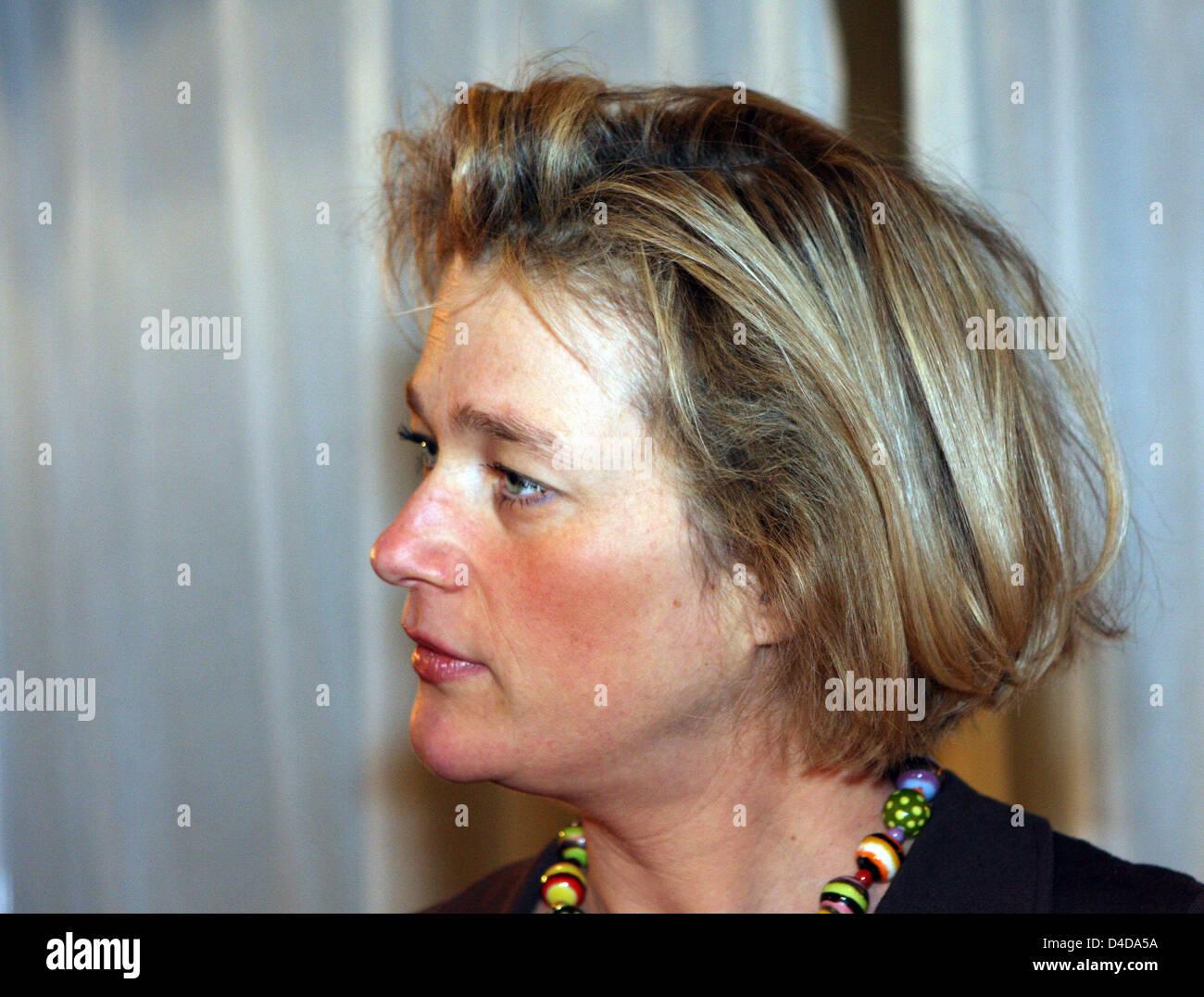 """Delphine Boel ist während der Präsentation ihres Buches """"De Navelstreng Doorknippen"""" gesehen ("""", die Nabelschnur Stockfoto"""