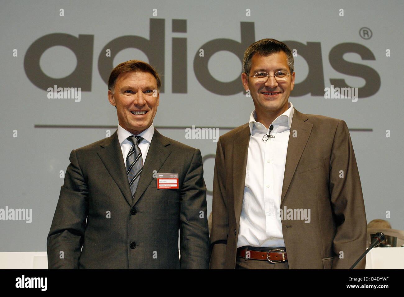 Adidas-CEO Herbert Hainer (R) und Finanzvorstand Robin