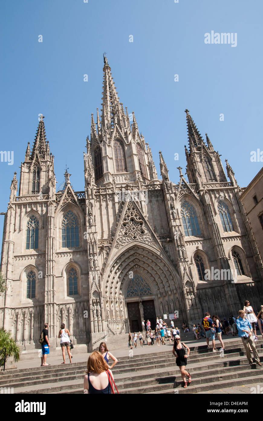 Barcelona, Spanien. Die Kathedrale des Heiligen Kreuzes und Santa Eulalia, Kathedrale von Barcelona. Stockbild