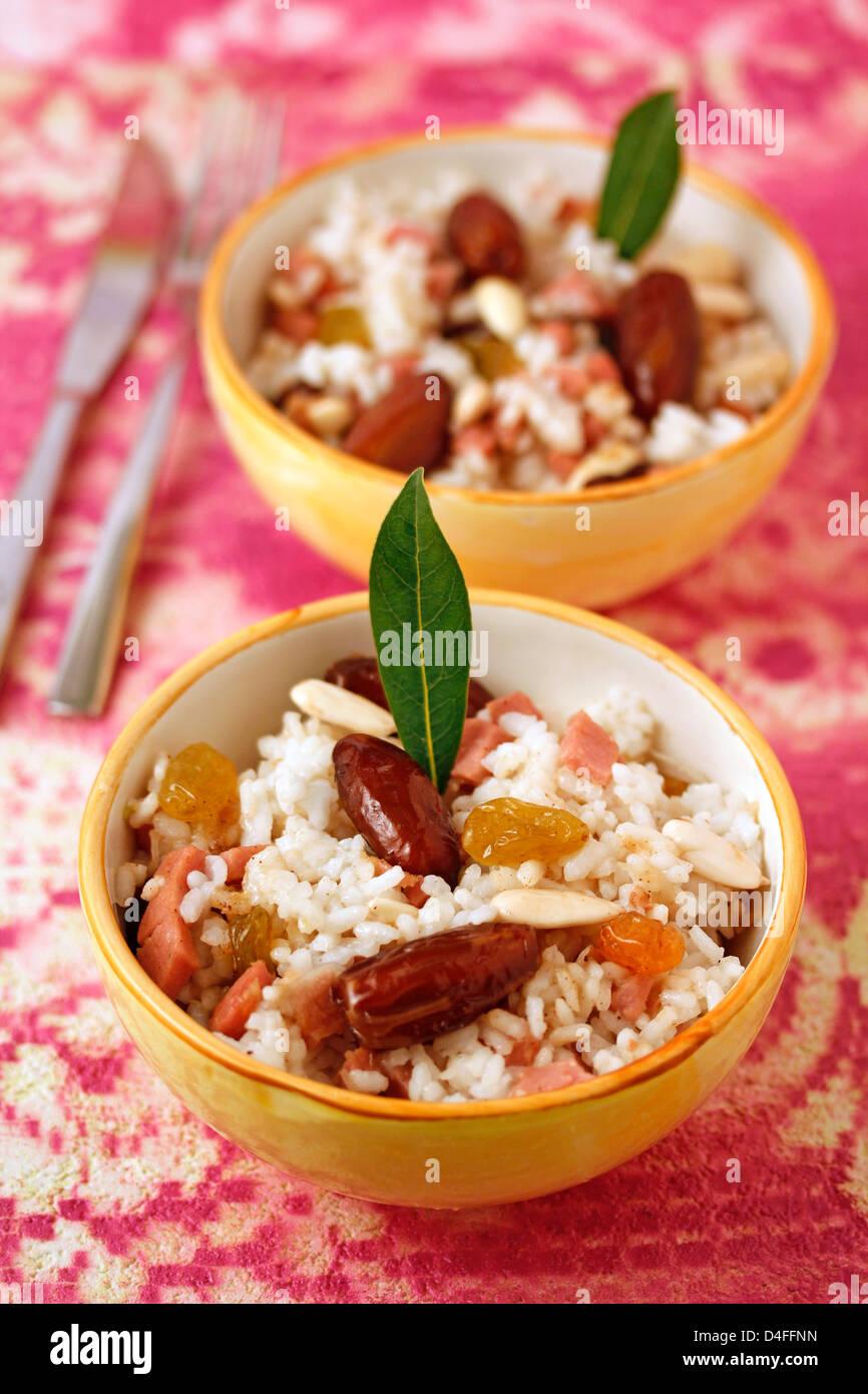 Paradies-Reis (mit Datum) Rezept zur Verfügung. Stockbild