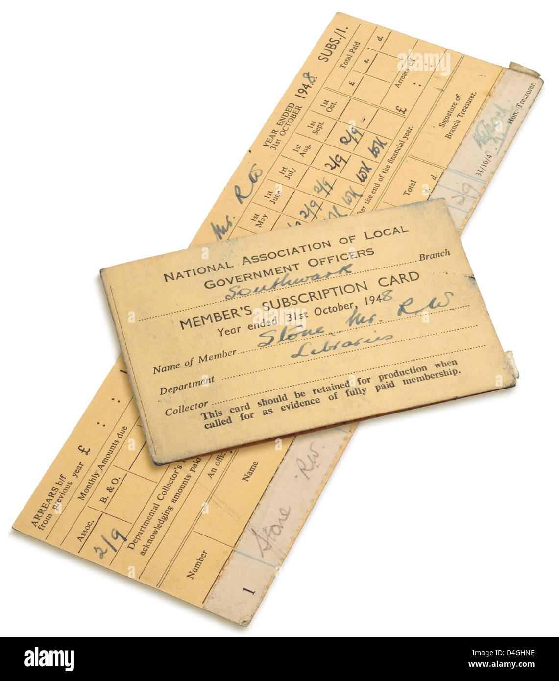 NALGO - nationale und lokale Regierung Offiziersgesellschaft - Member-Abo-Karte aus dem Jahr 1948. Stockbild