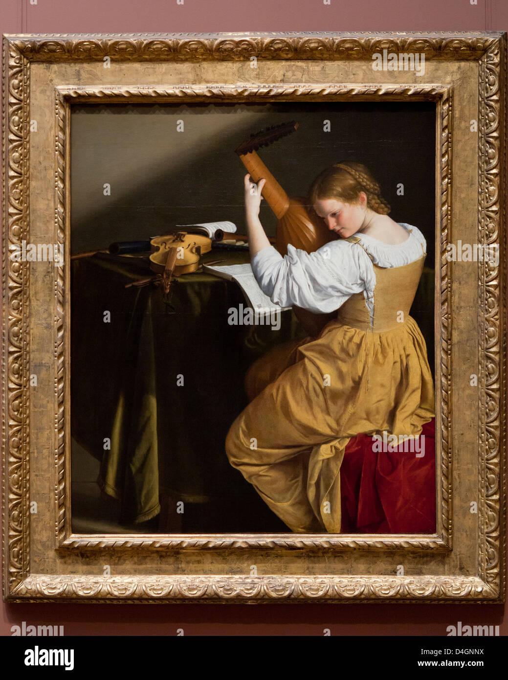 Der Lautenspieler von Orazio Gentileschi, 1612 - Smithsonian National Gallery of Art, Washington, DC USA Stockbild