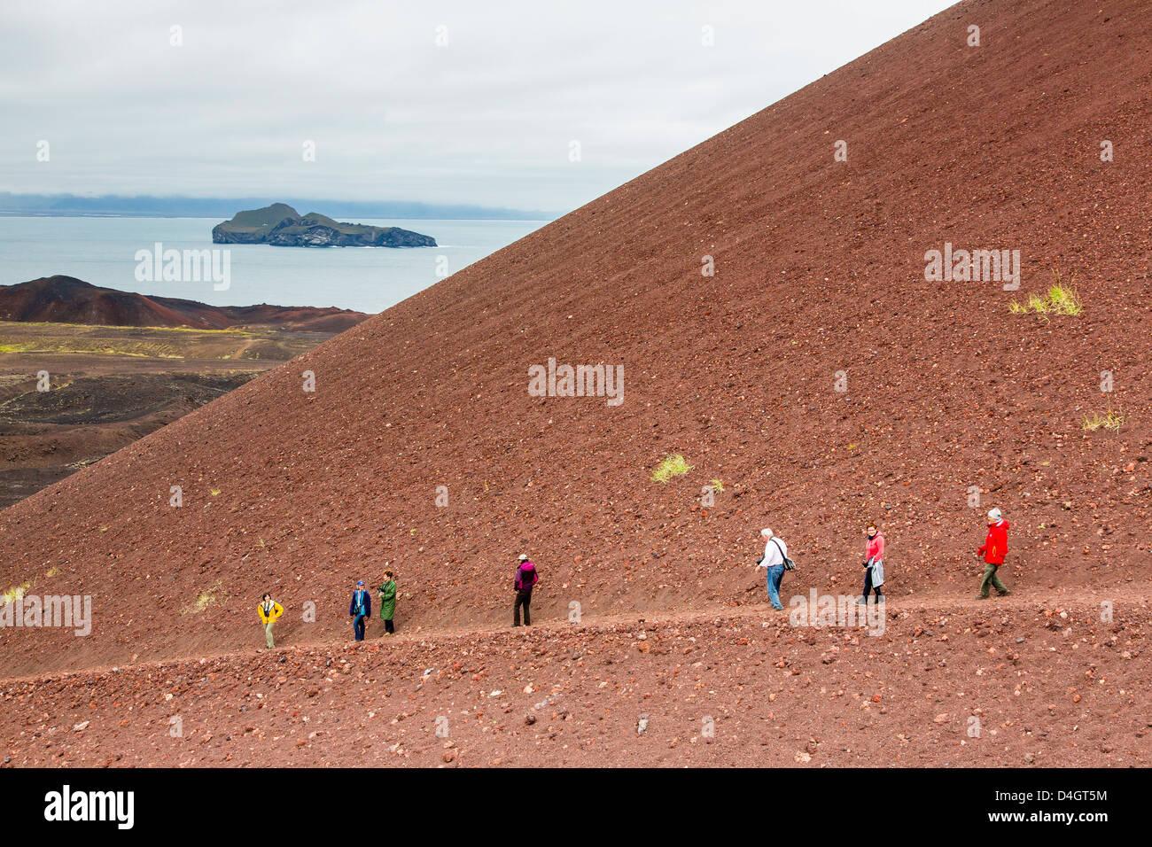 Wandern auf den letzten Lavastrom auf Heimaey Island, Island, Polarregionen Stockbild