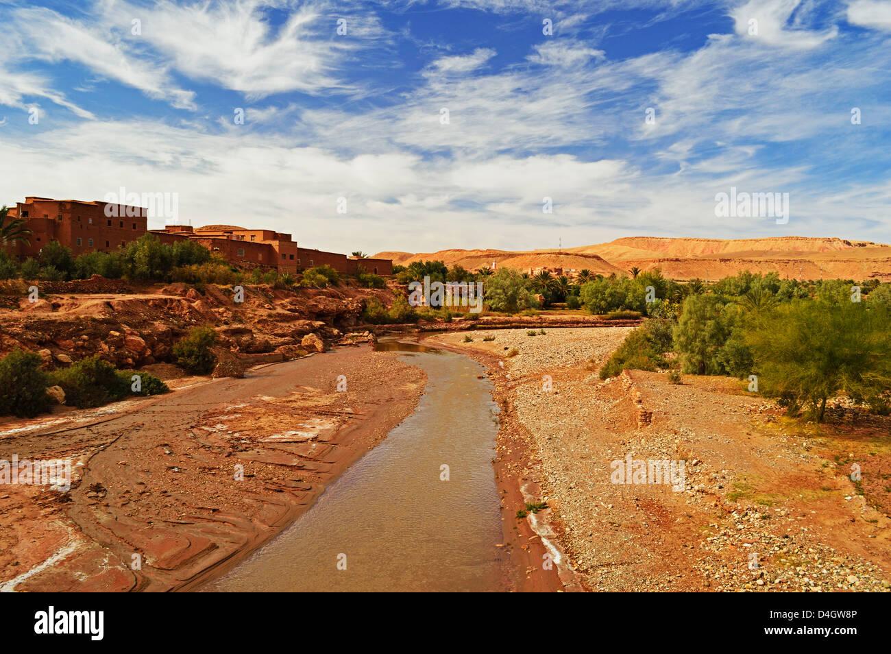 Fluss, Ait Benhaddou, Marokko, Nordafrika Stockbild