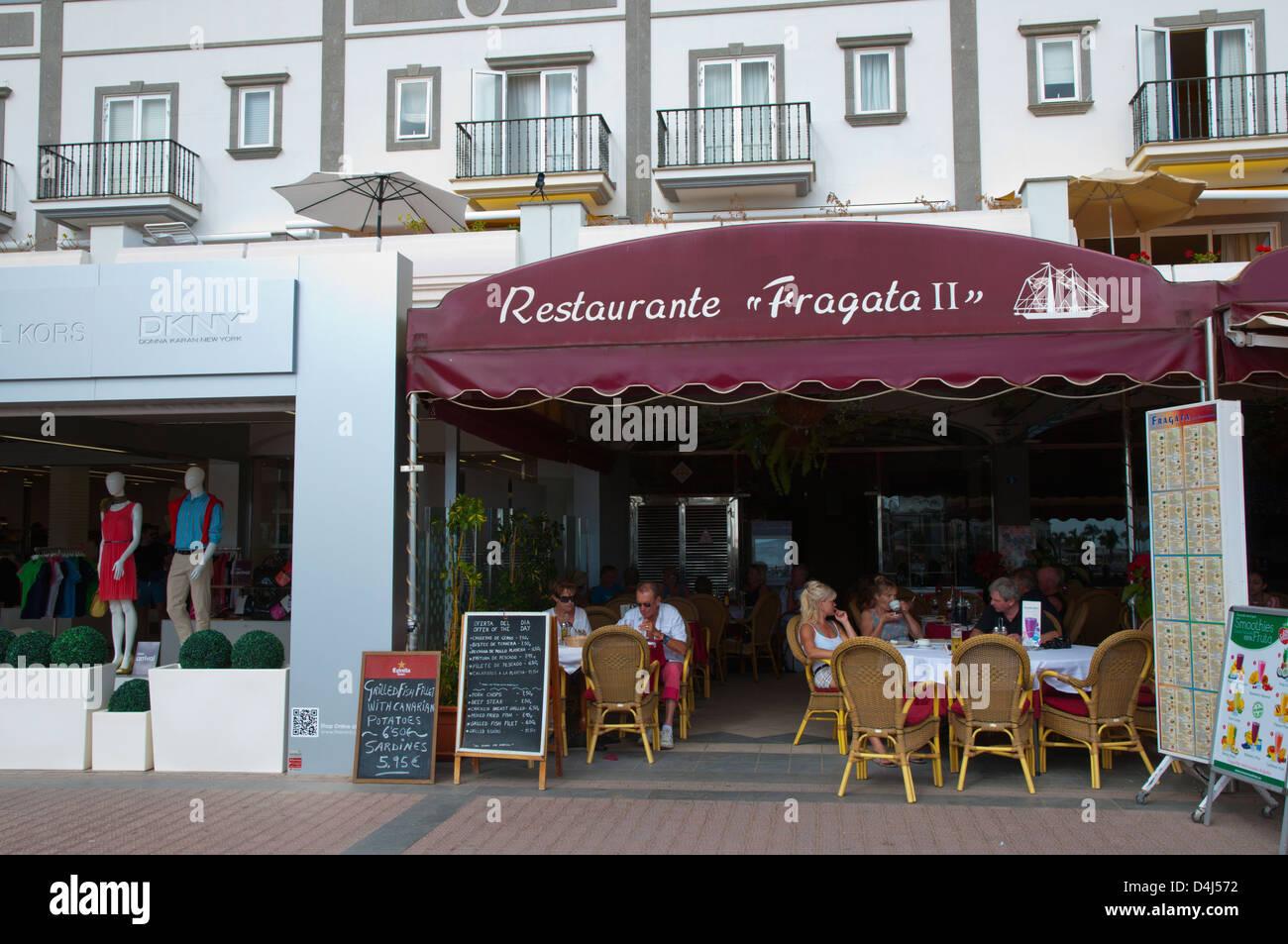 Restaurant an der Strandpromenade Puerto de Mogan Resort Gran Canaria Insel der Kanarischen Inseln-Spanien-Europa Stockbild