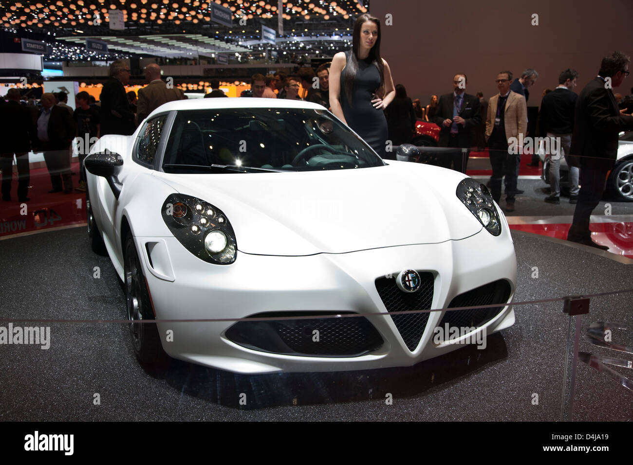 Alfa Romeo 4 C. Genfer Autosalon 2013 Stockbild