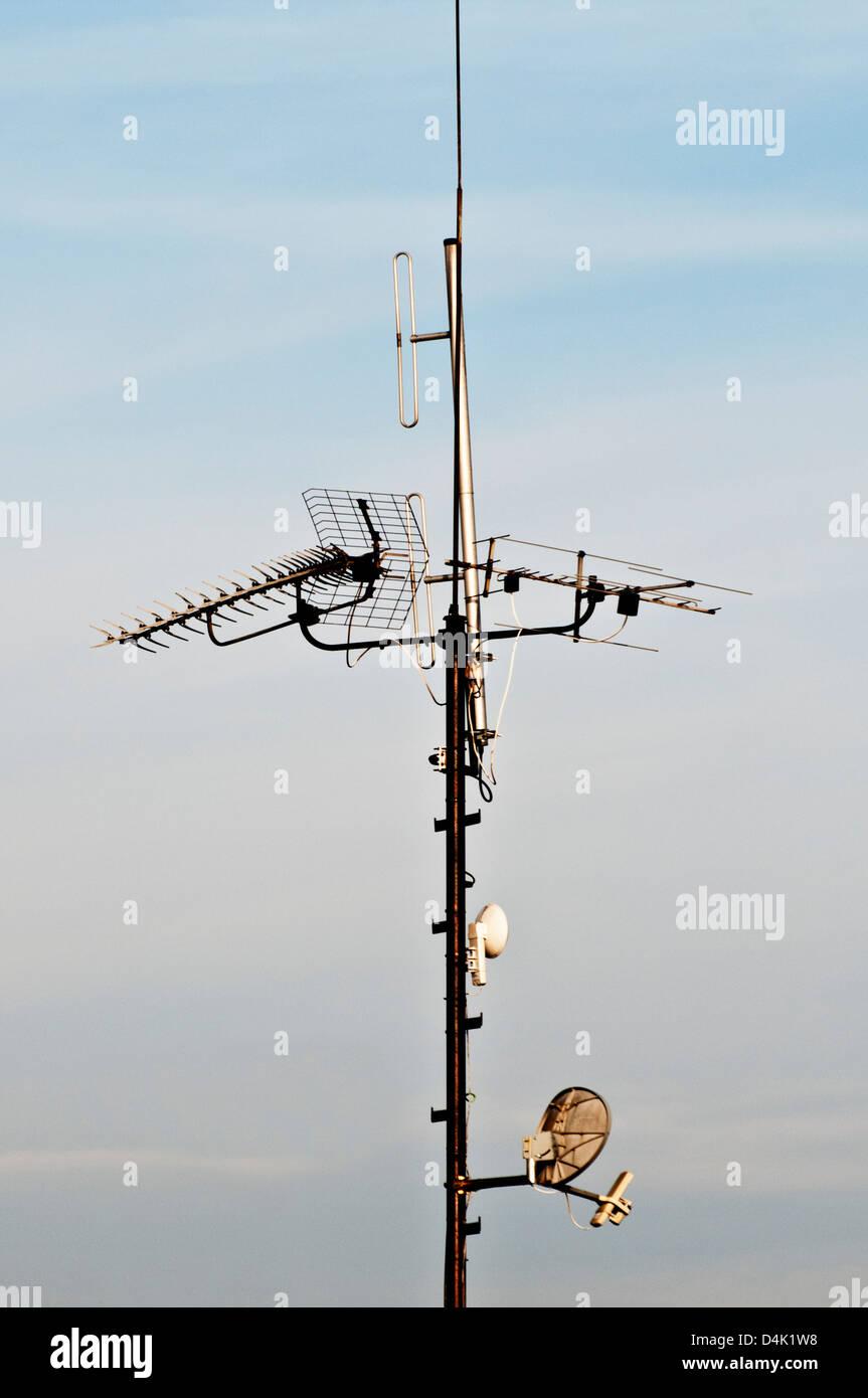 Antennen für TV-signal Stockbild