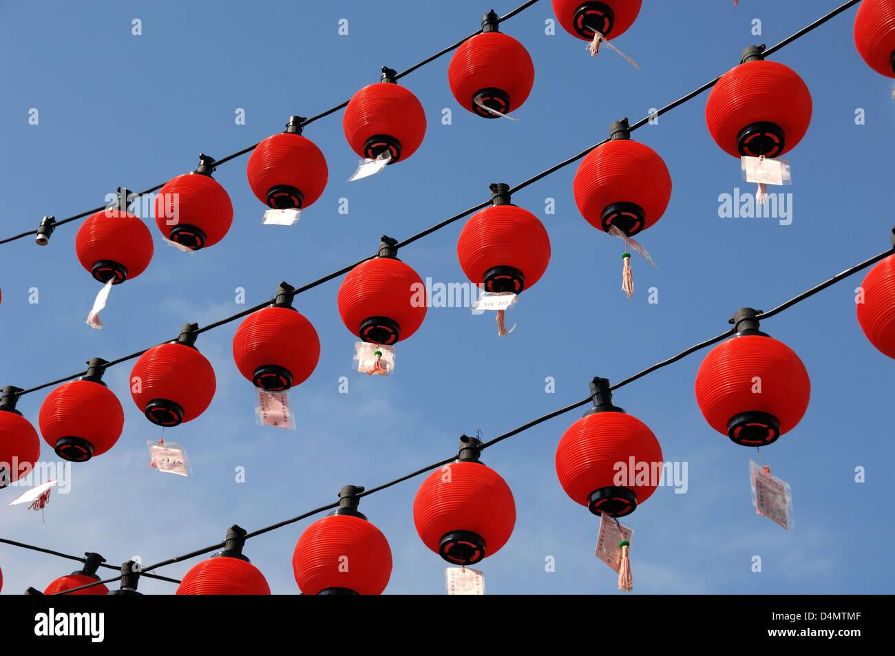 chinesische rote laternen h ngen an tua pek kong chinesische tempel kuching sarawak borneo. Black Bedroom Furniture Sets. Home Design Ideas