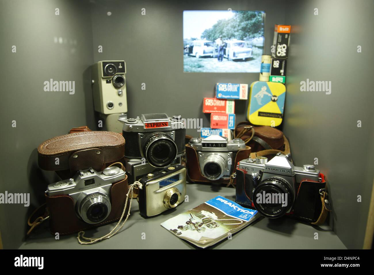 DDR-Museum an der Spree, Kameras aus DDR-Produktion, Berlin, Deutschland Stockbild