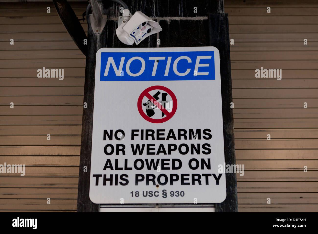 Keine Waffen erlaubt Zeichen Stockbild