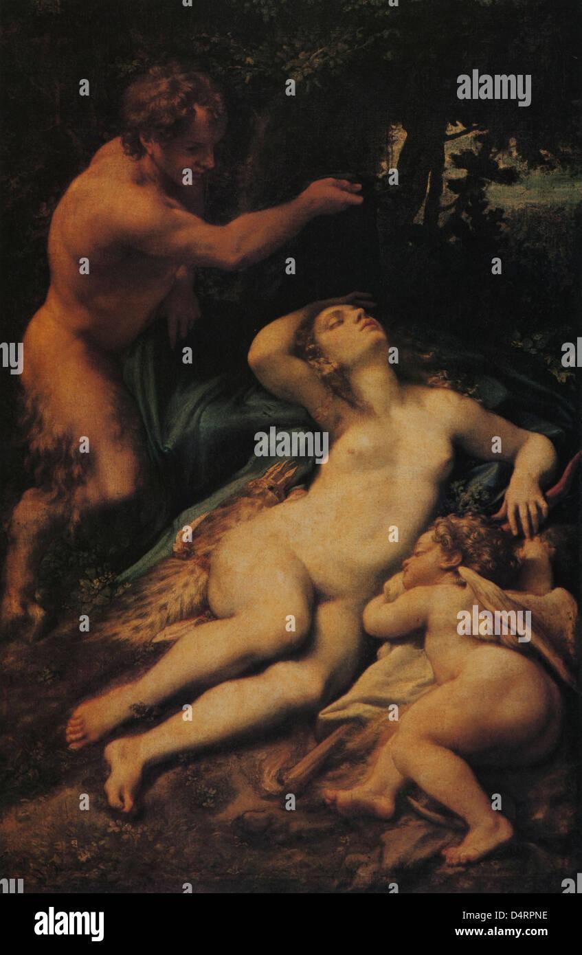 Schlafende Venus, 1525 von Correggio-Louvre-Museum Stockbild