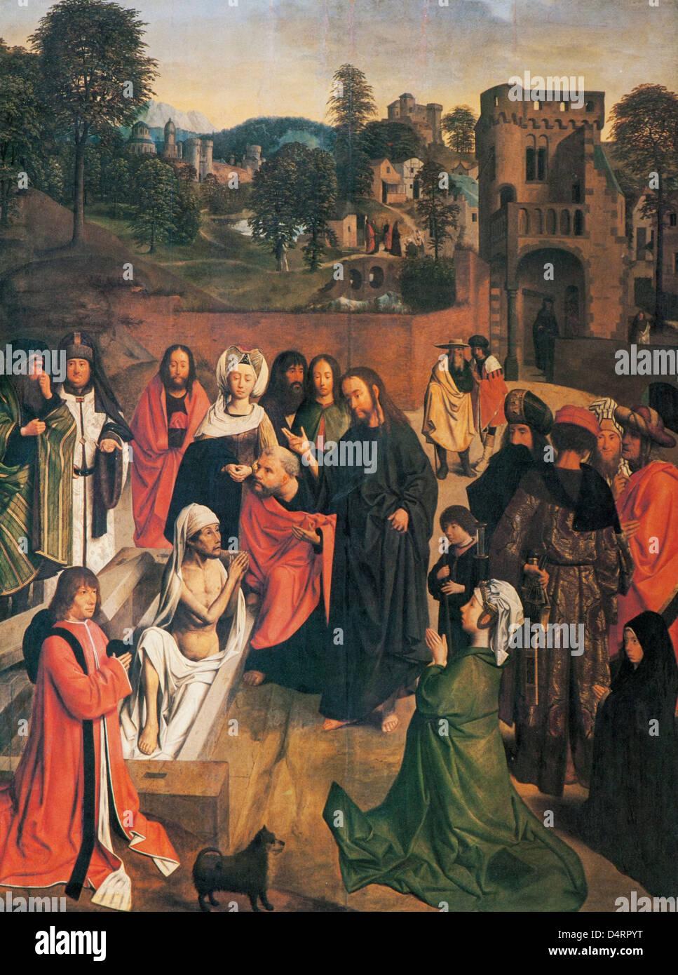 Die Anhebung des Lazarus, 1480 von Geertgen tot Sint Jans im Louvre Museum Stockfoto