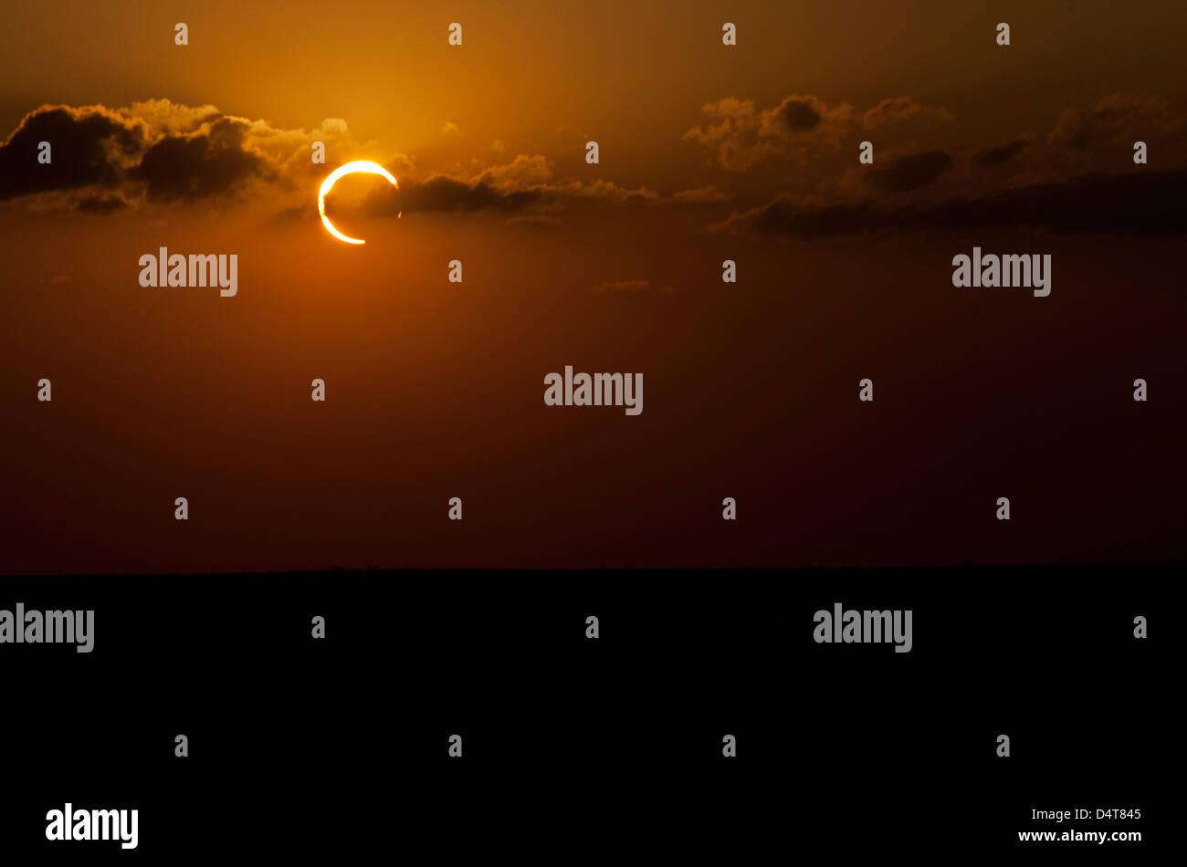 Ringförmige Sonnenfinsternis des Jahres 2012. Stockbild