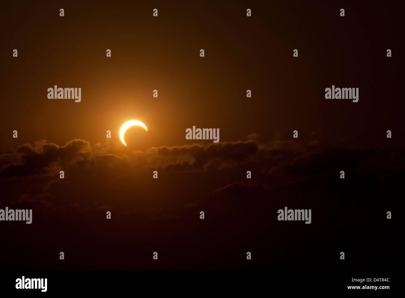 Partielle Sonnenfinsternis des Jahres 2012. Stockbild