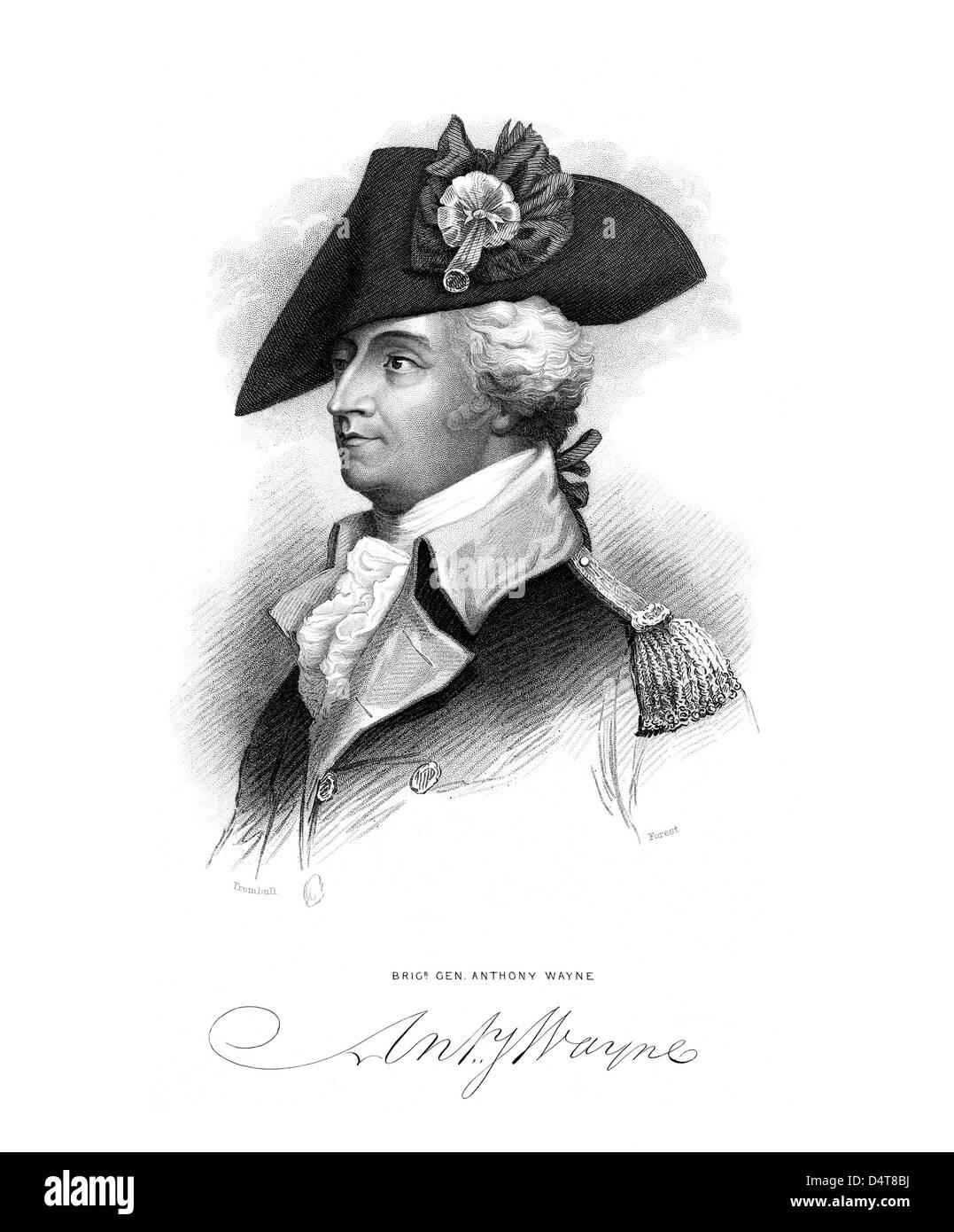 Revolutionäre Krieg Porträt des General Mad Anthony Wayne und seine Unterschrift. Stockbild