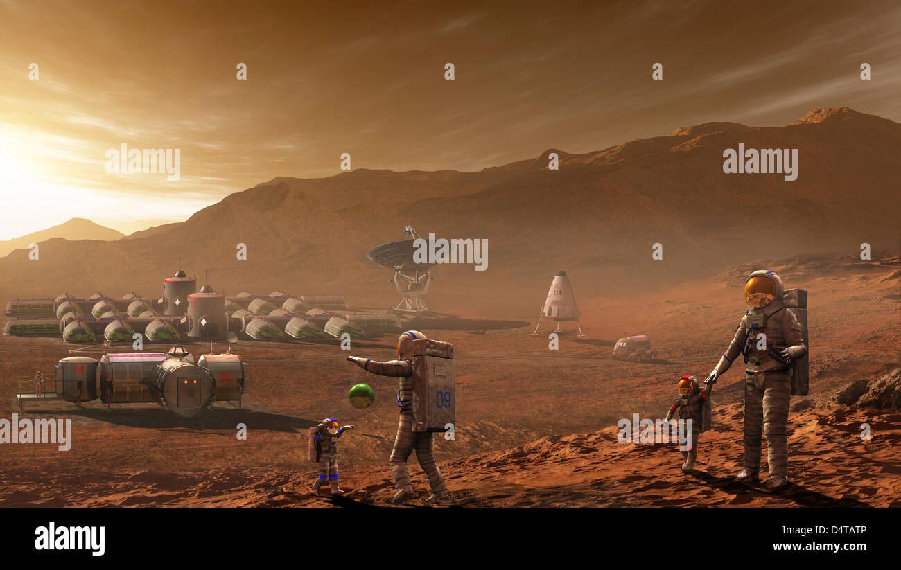 Zukünftige Mars-Kolonisten spielen mit Kindern auf dem Mars, ein Ort sie zu Hause anrufen. Stockbild